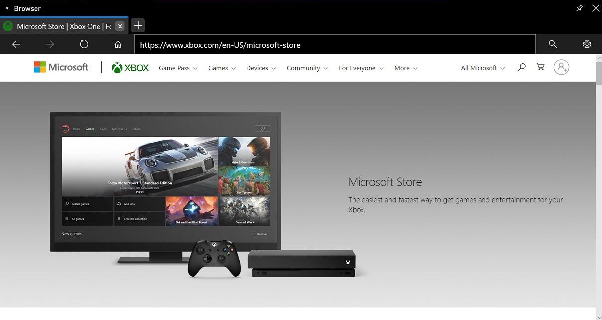 Xbox browser widget