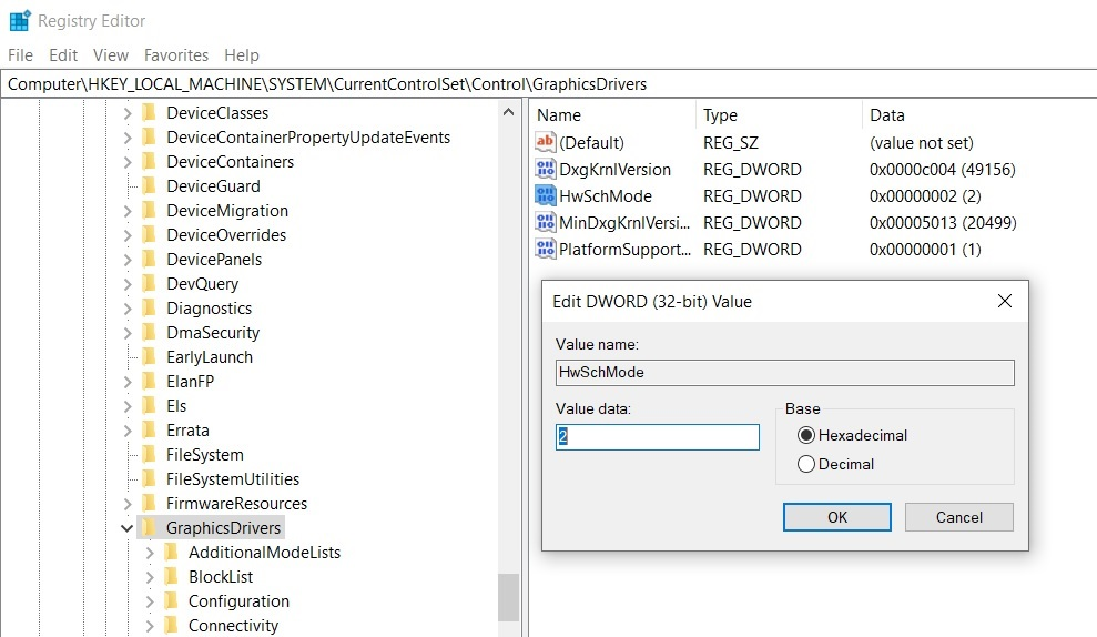GPU scheduling Registry edit