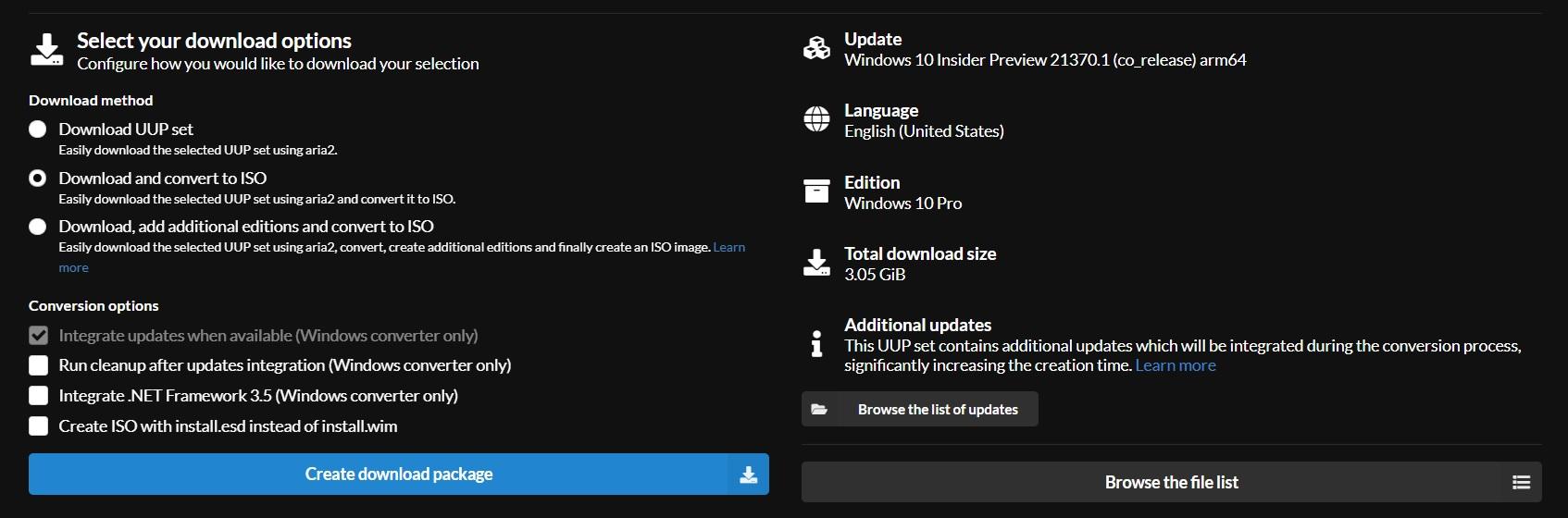 Windows 10 image selector