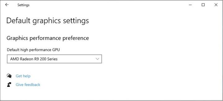 Default graphics settings