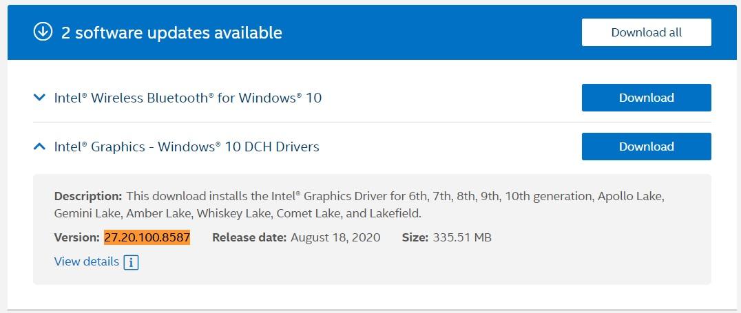 Intel August driver update
