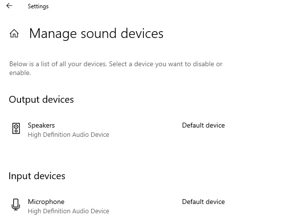 Manage sound devices