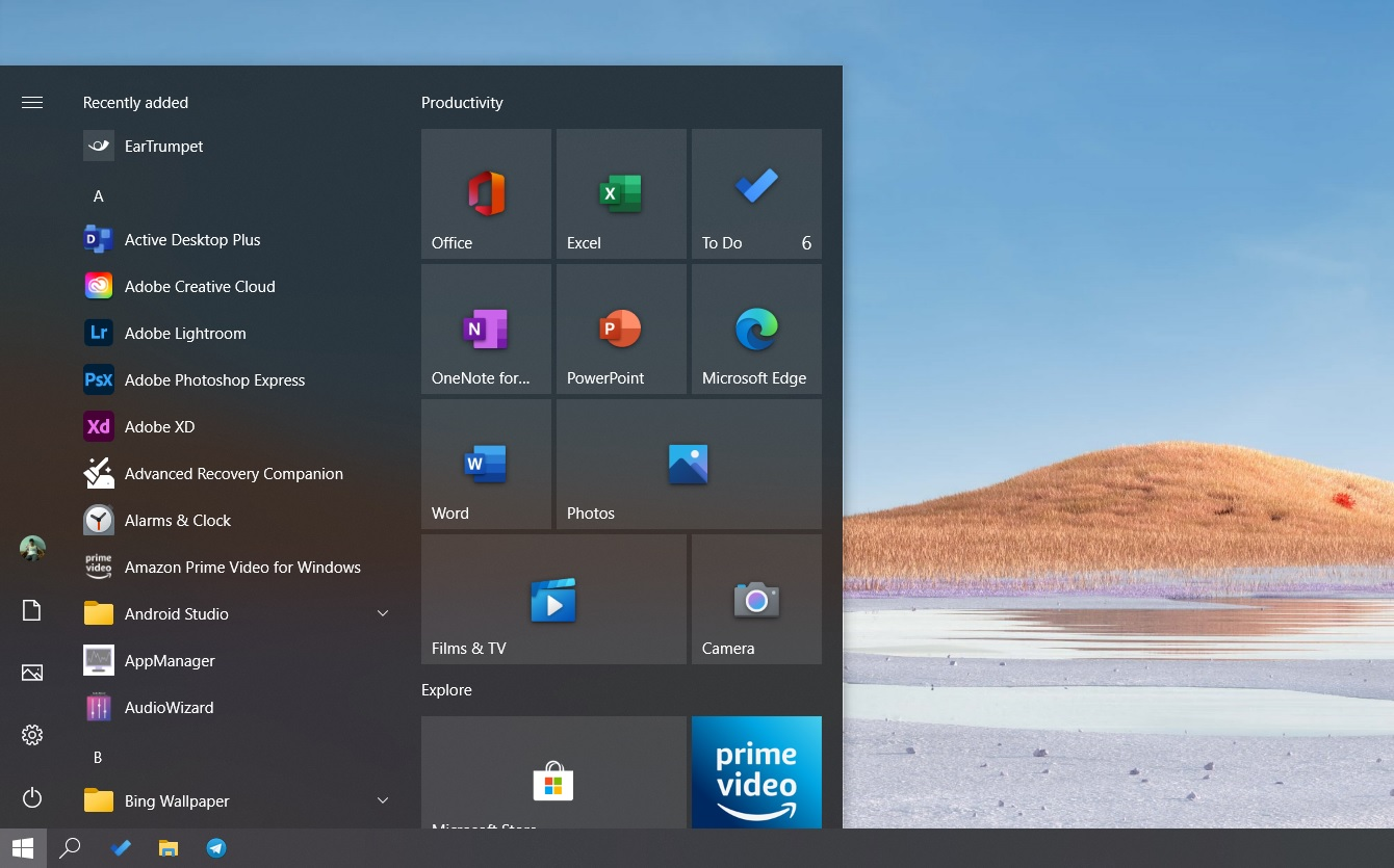 Windows 10 2004 New Start Menu