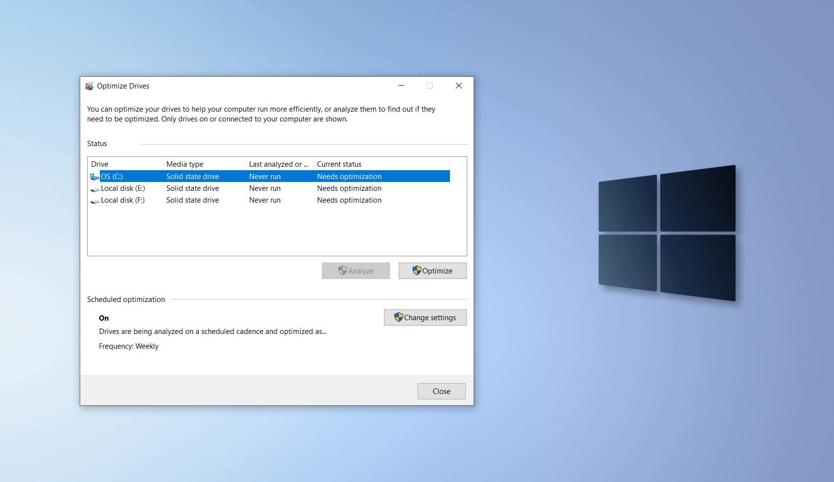Windows 10 drive optimization tool
