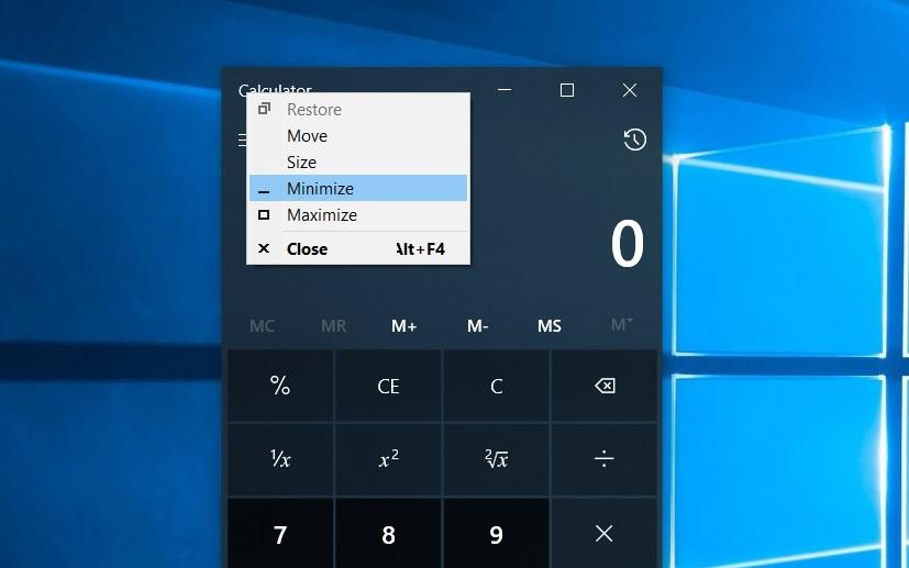 Calculator window