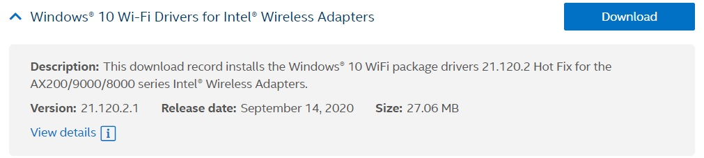 Intel WiFi driver update