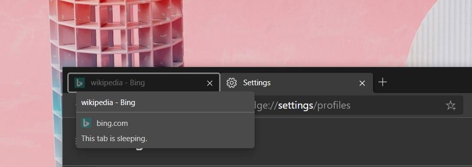 Microsoft Edge sleeping tab