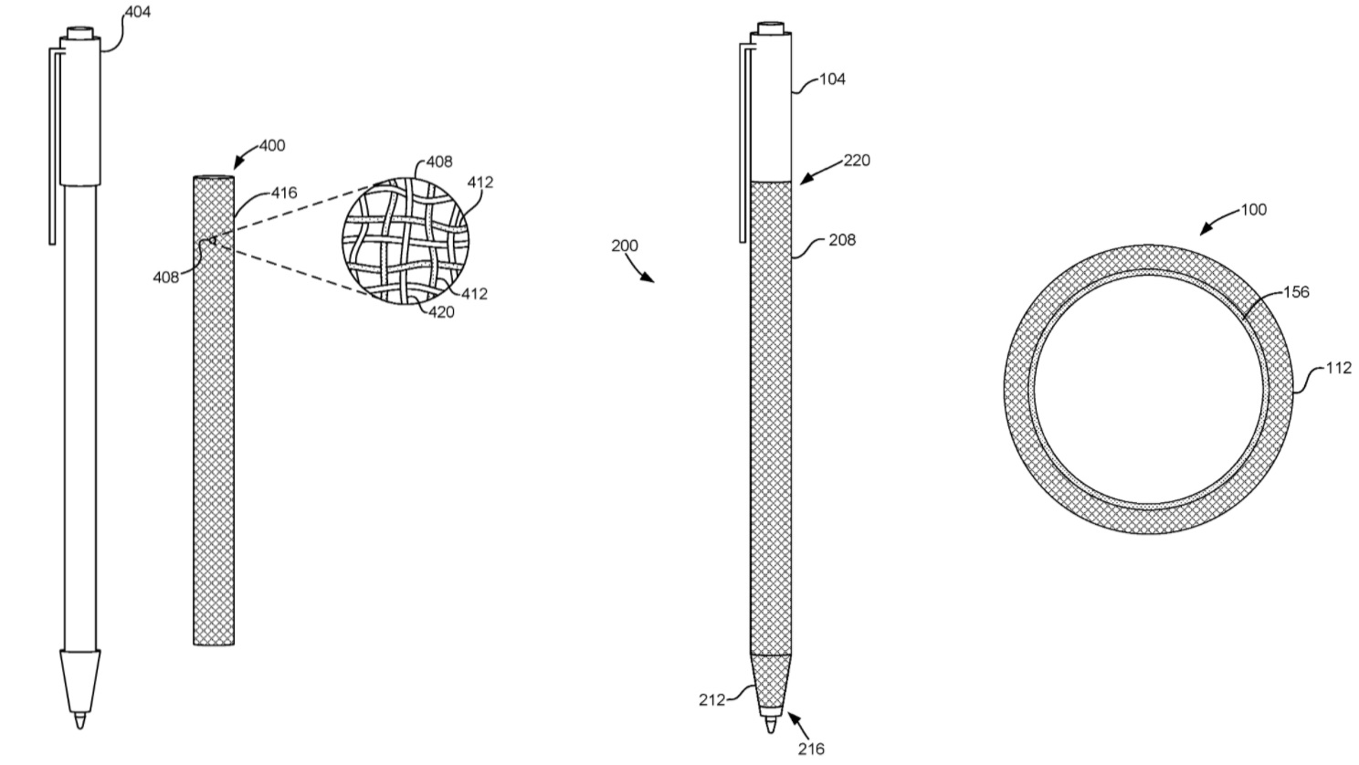 Surface Pen fabric patent
