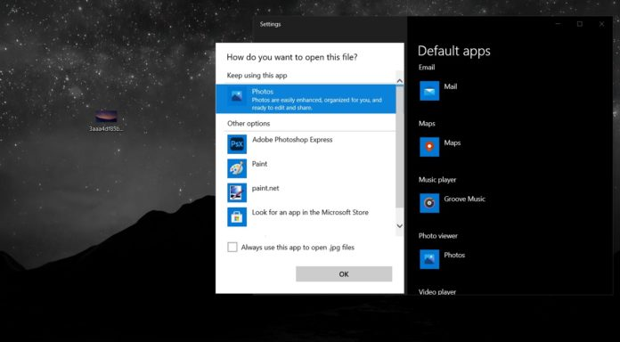 Windows 10 default apps for files