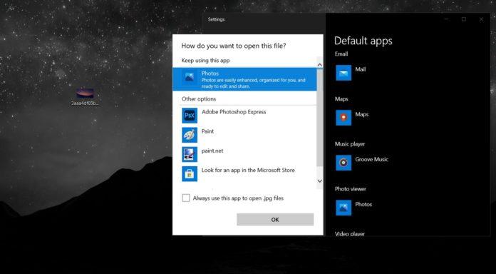 Windows 10 default apps for files
