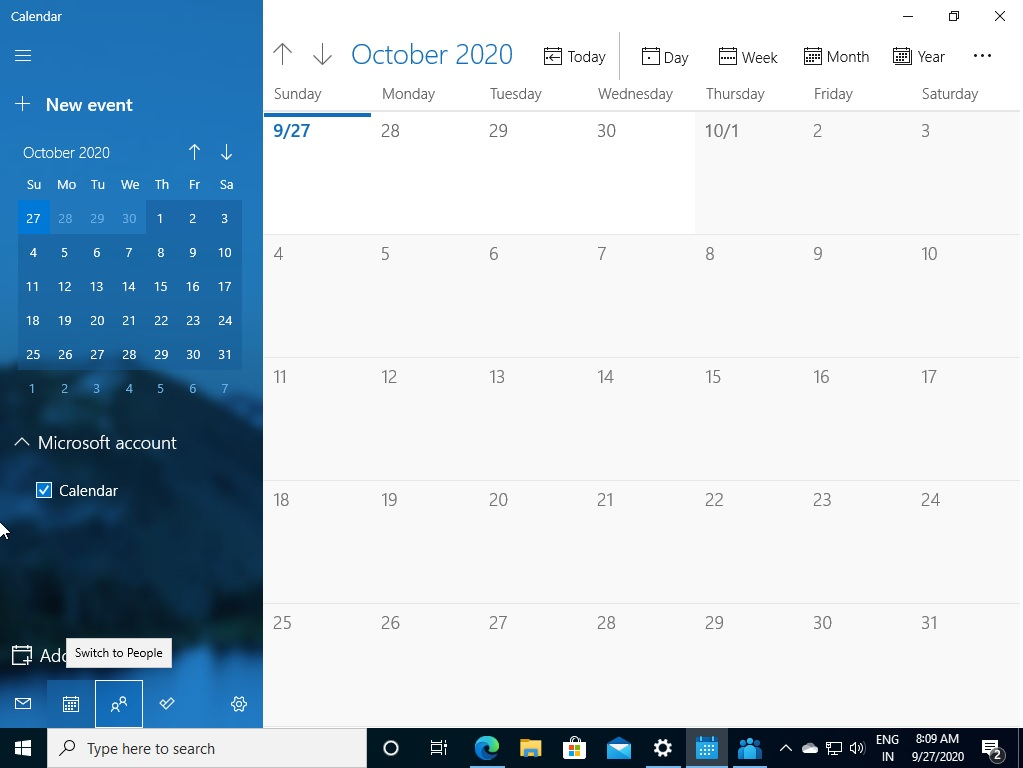 Windows Calendar app