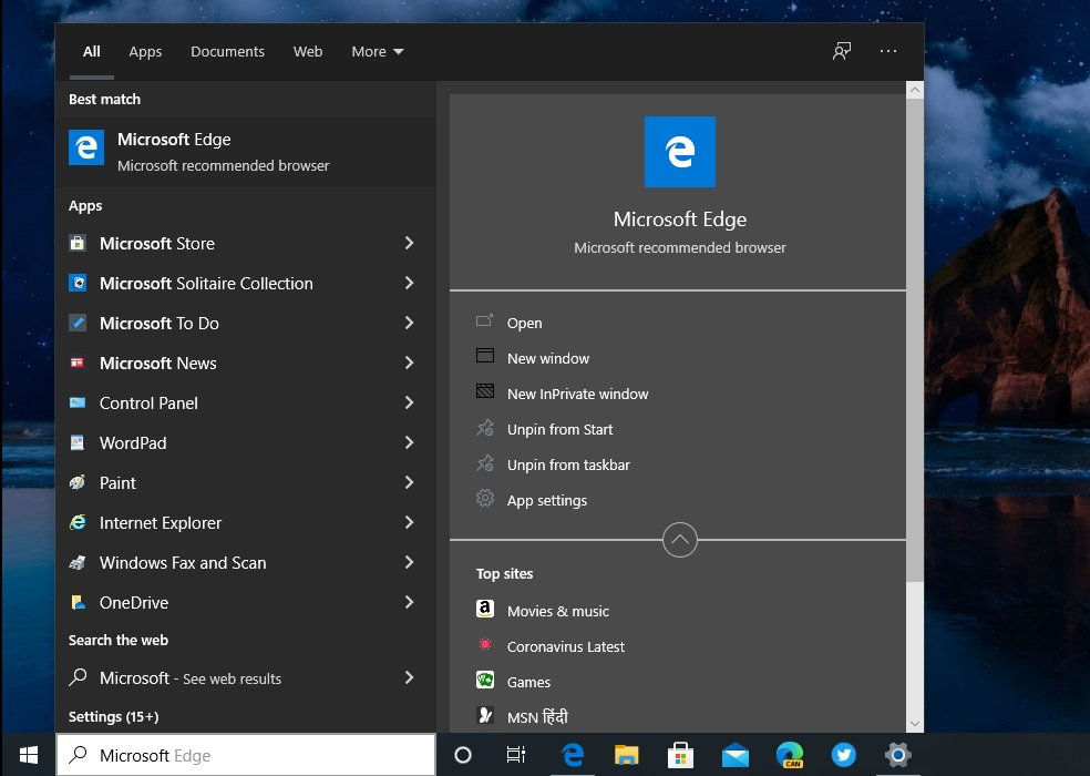 Windows Search dark mode