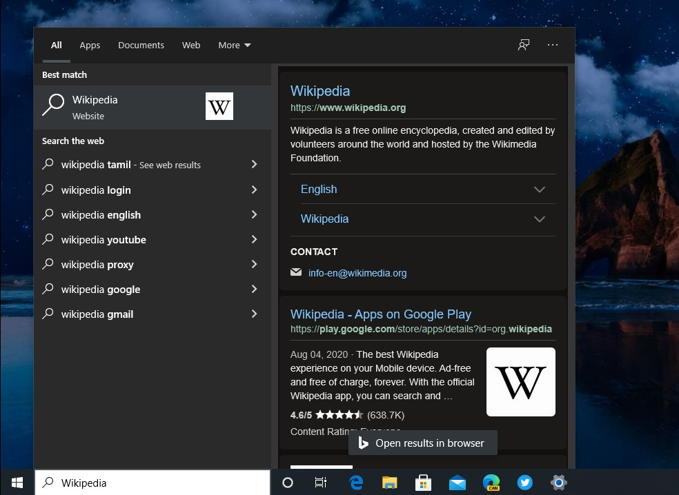 Windows Search dark results
