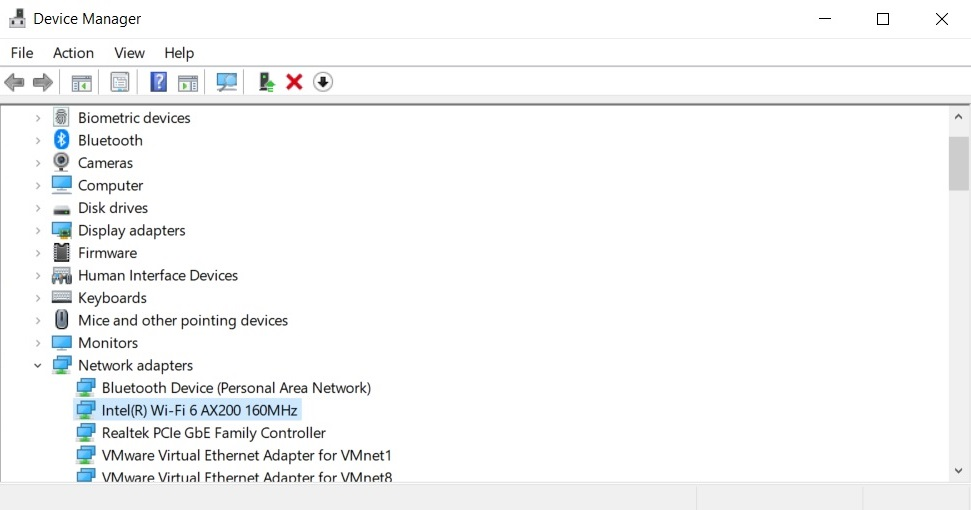 Wireless adapter in Device Manager