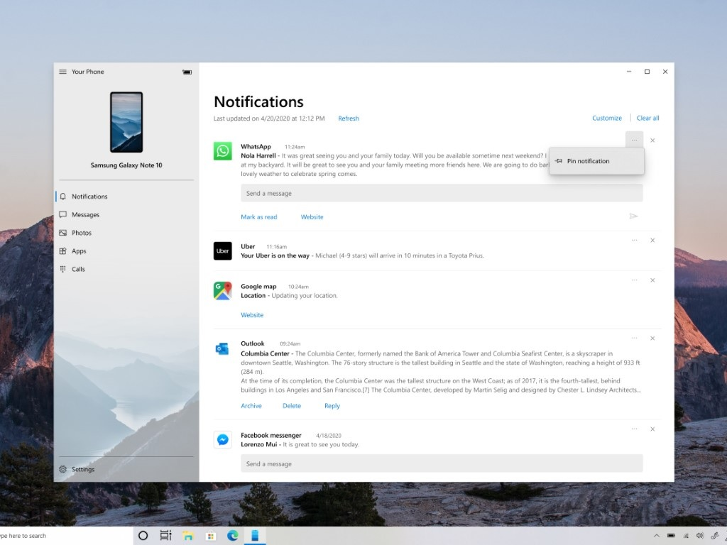 Your Phone app notifications pinning