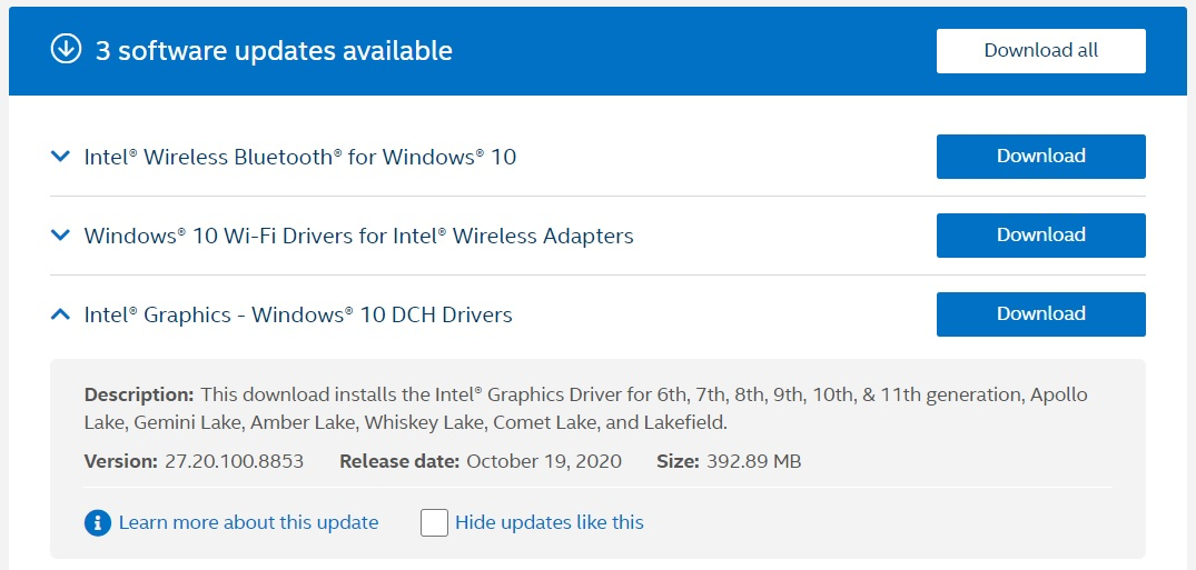 Intel DCH driver update