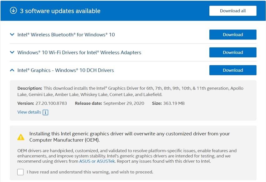 Intel driver updates