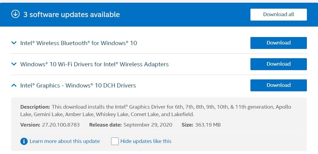 Intel updates