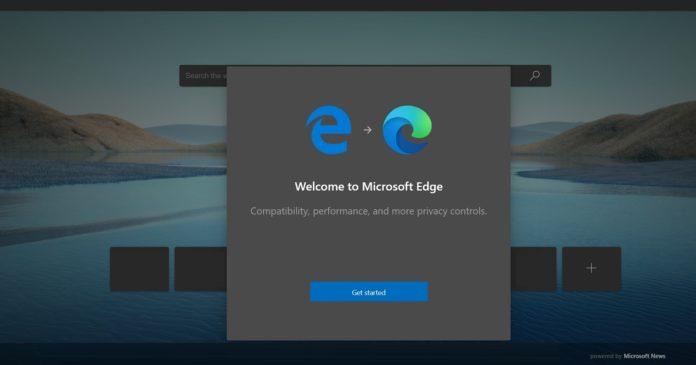 Microsoft Edge launch screen