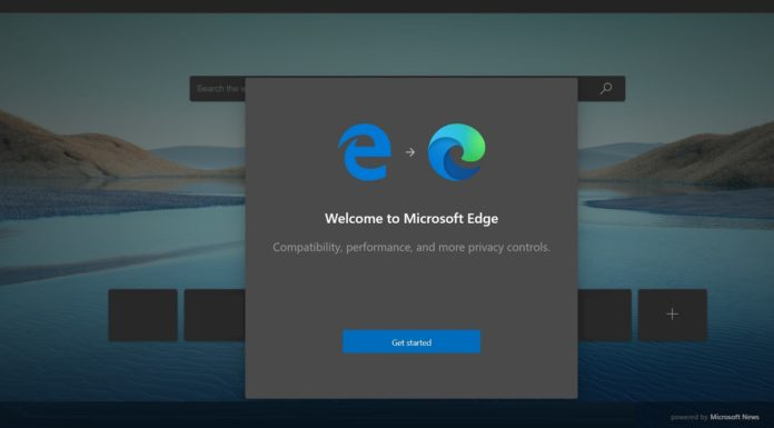 Microsoft Edge launch screen