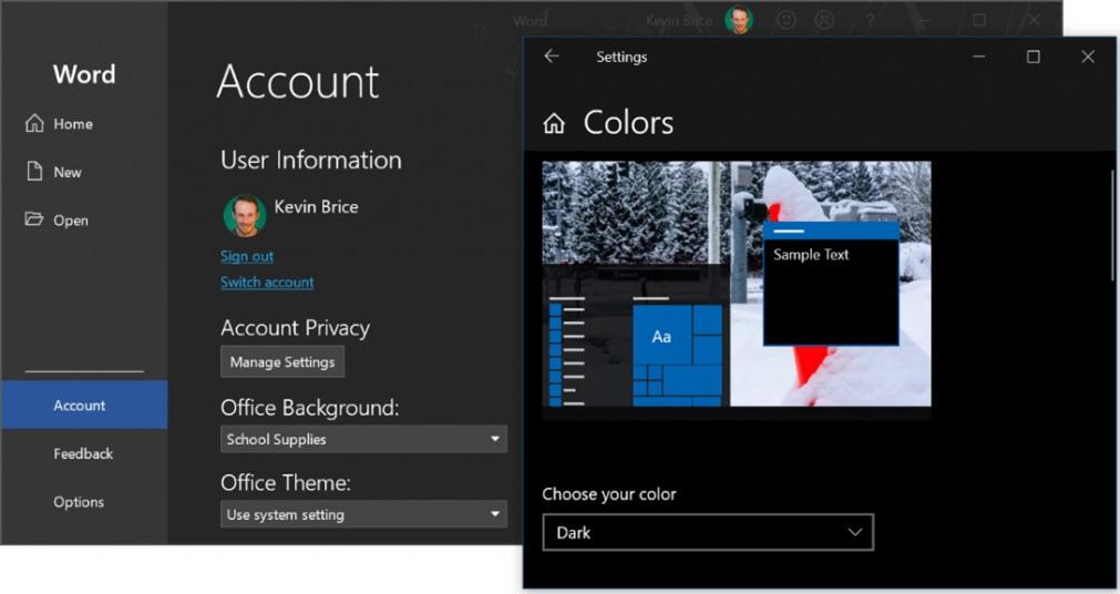 Microsoft Word dark mode