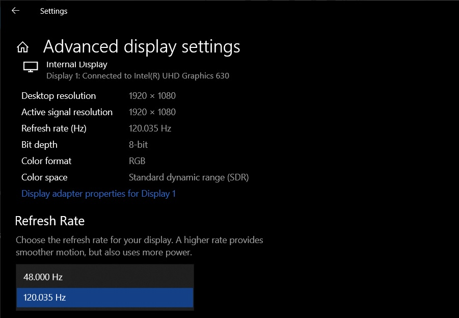 Refresh rate options