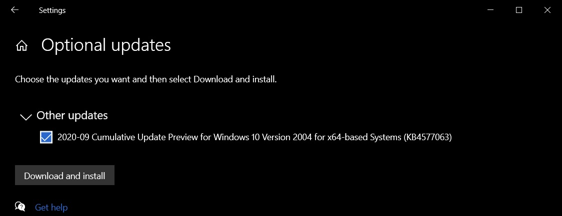 September 2020 optional patch