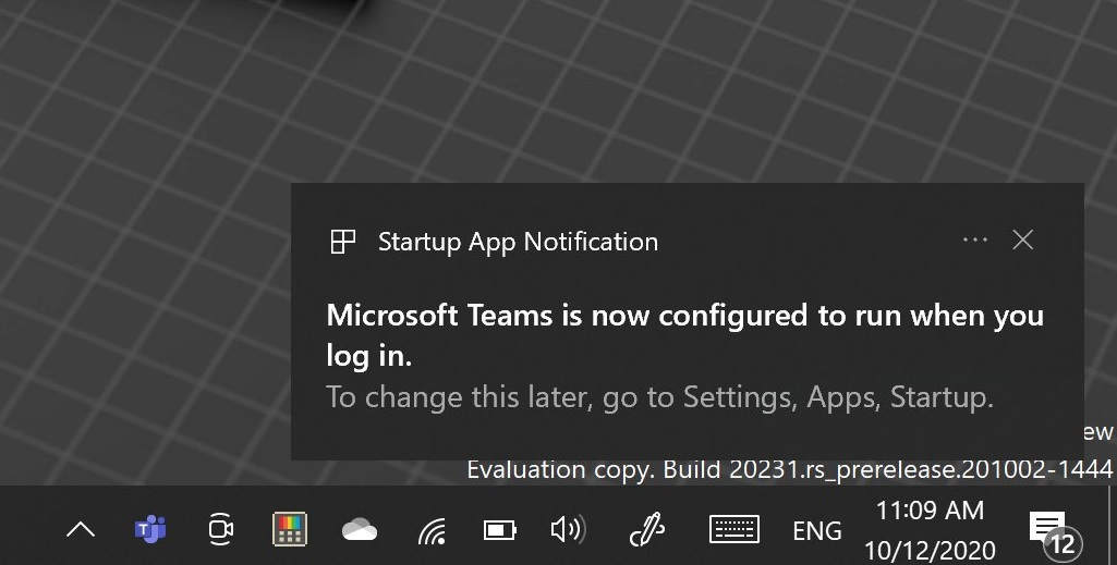 Startup app notification