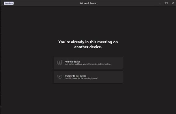 Teams meeting transfer