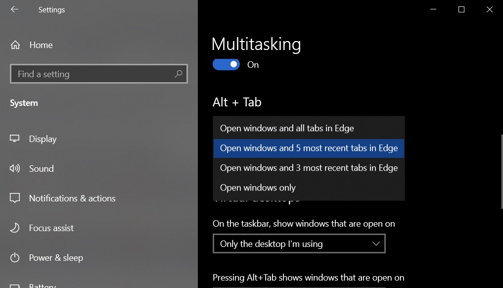 Windows 10 Alt Tab settings
