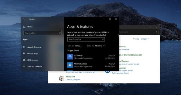 Windows 10 Control Panel app