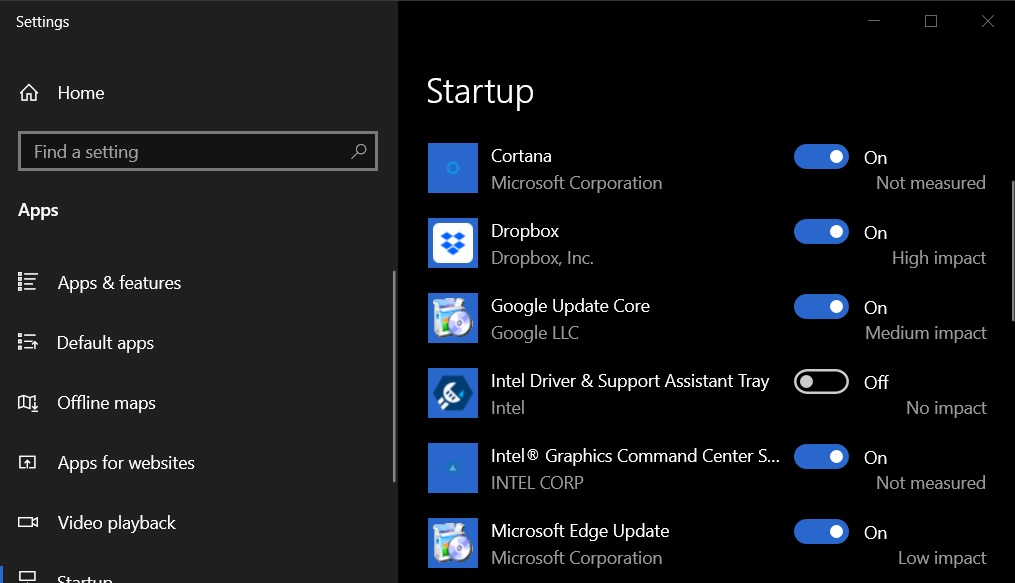 Windows 10 Startup apps