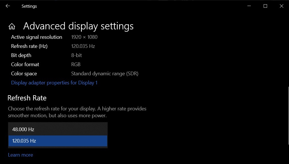 Windows 10 display settings