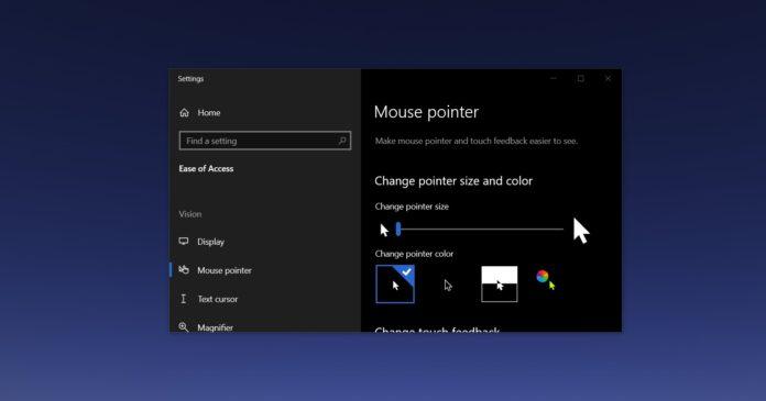 Windows 10 mouse pointer