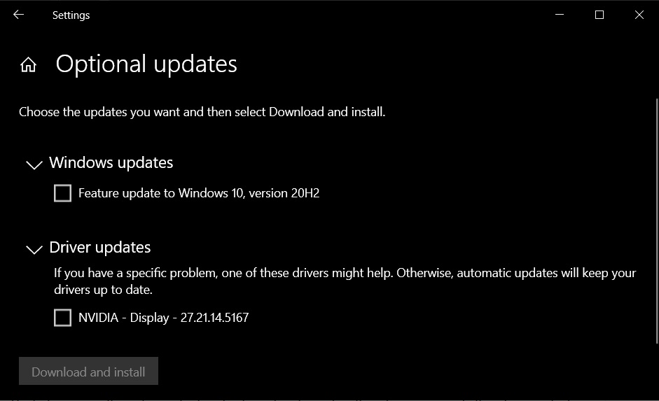 Windows optional updates