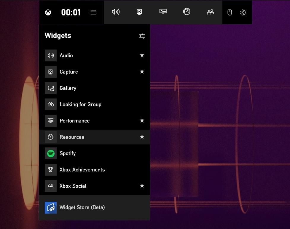 Xbox Game Bar widgets