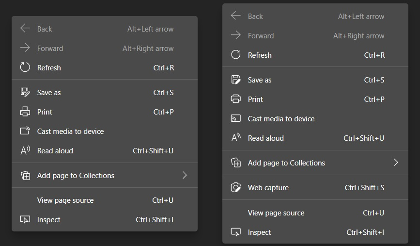 Edge rounded context menu