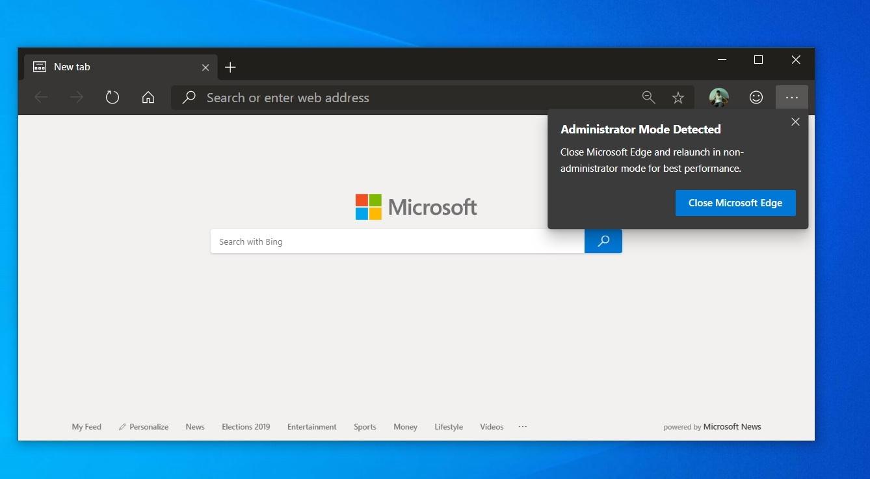 Microsoft Edge elevated mode