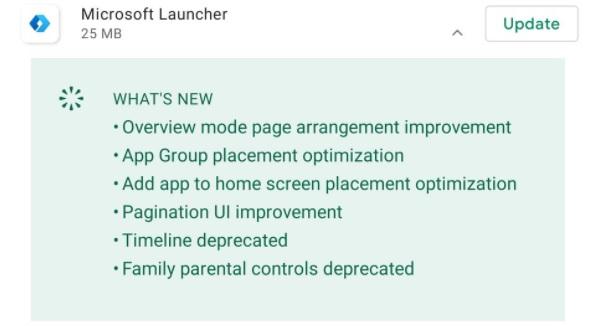Microsoft Launcher changelog