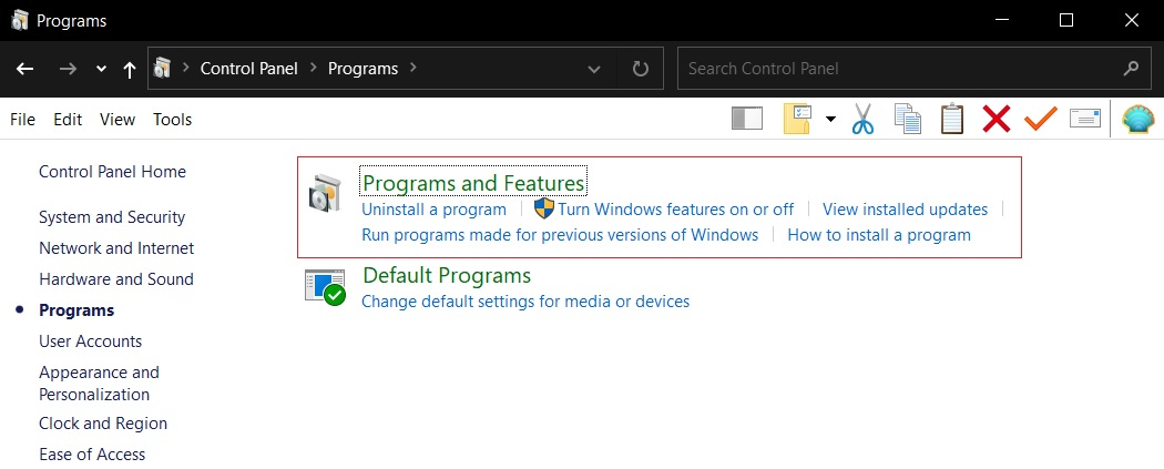 Programs and Features page