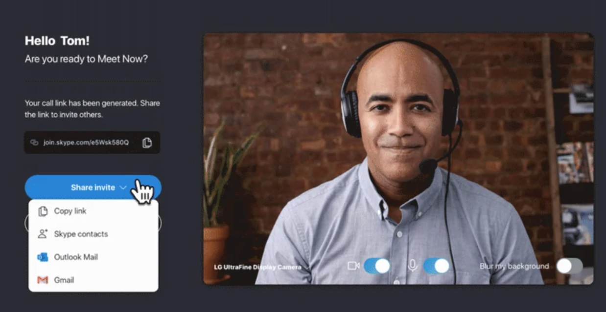 Skype Meet Now screen