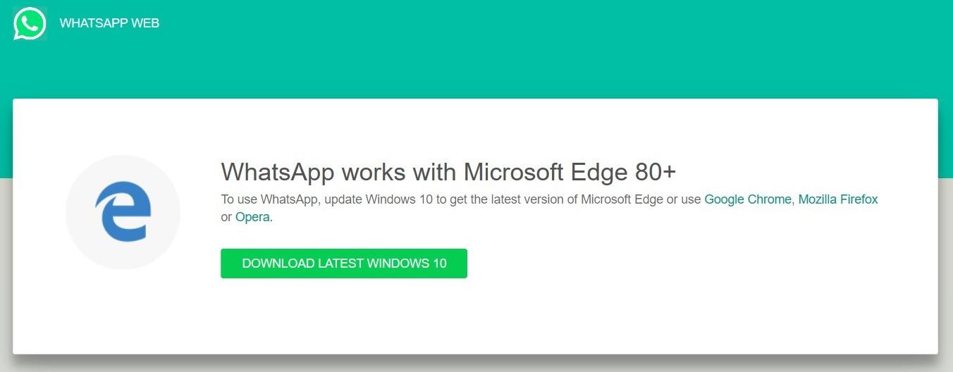 WhatsApp Web in Microsoft Edge