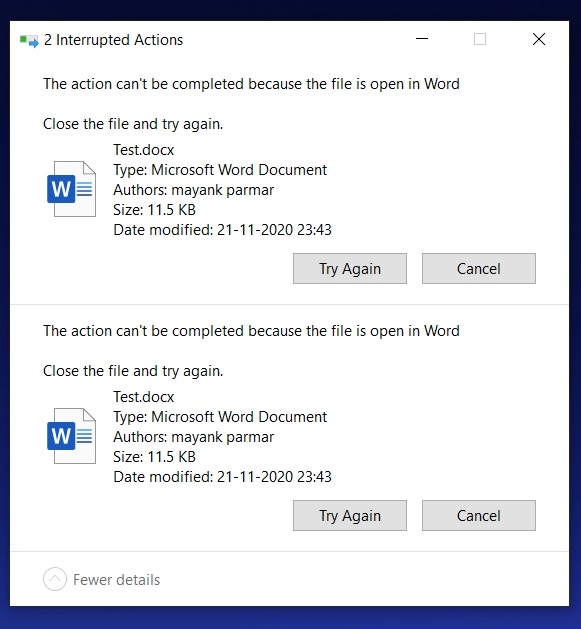 Windows 10 File in use