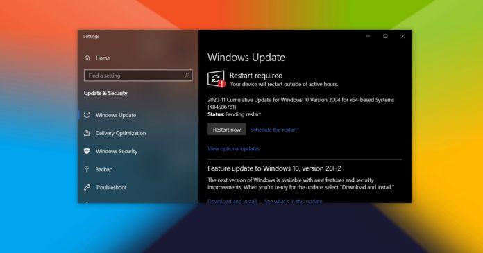 Windows 10 November 2020 update