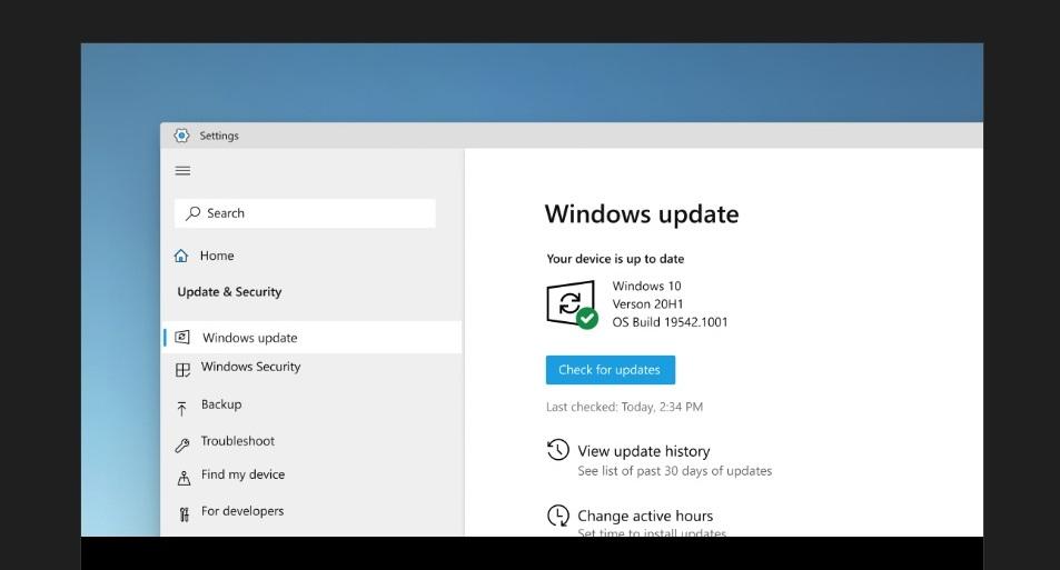 Windows Update mockup
