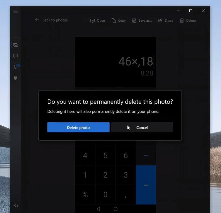 Your Phone photos delete