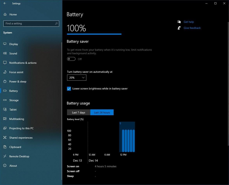 Battery usage settings