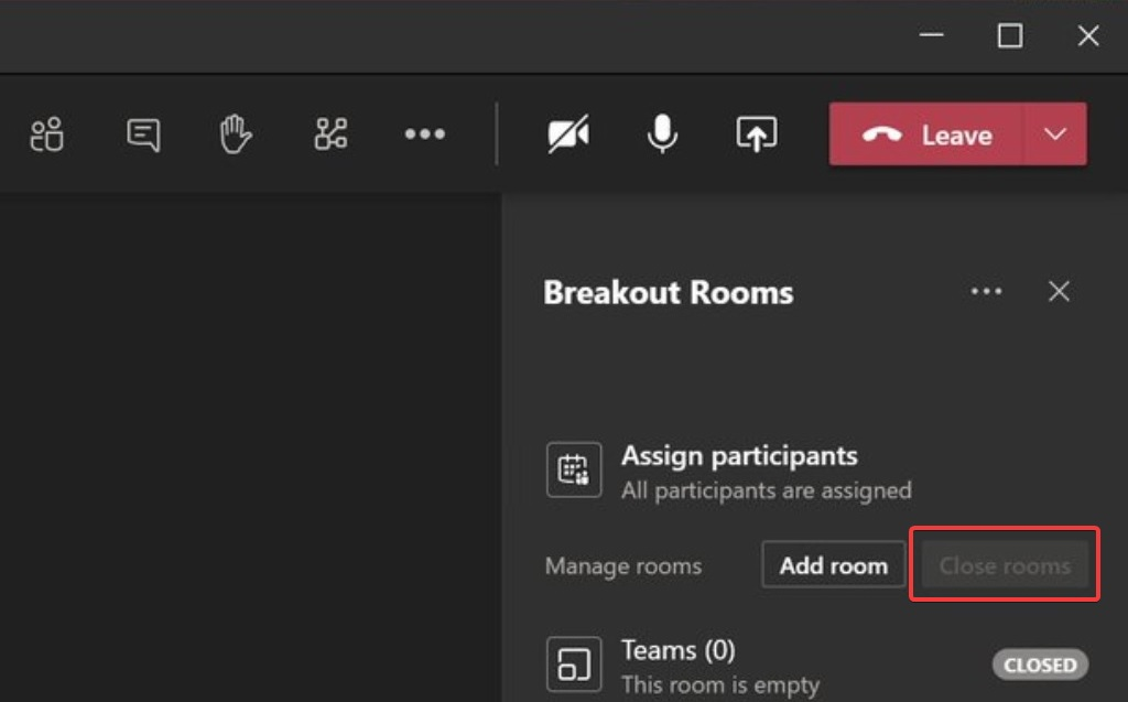 Breakout rooms options