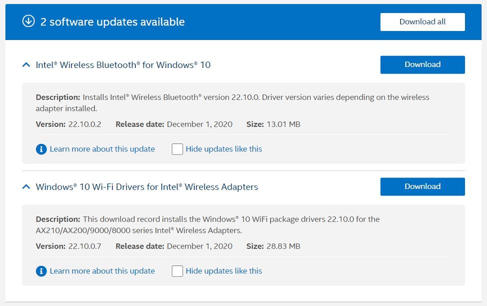 Intel December update