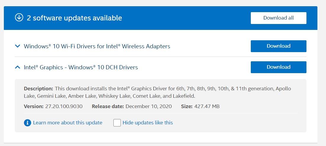 Actualización de diciembre de Intel GPU